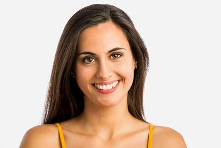 Close-up ritratto di una bella giovane donna sorridente Archivio Fotografico - 82415953