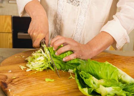 발효 보존 야채를 준비하는 다진 양배추. 양배추 김치와 김치 양배추.