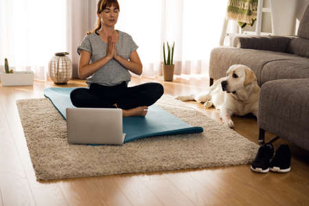 Shot of a woman doing exercise at home with her dog 写真素材