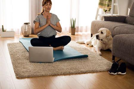 Geschossen von einer Frau, die zu Hause Übung mit ihrem Hund tut Standard-Bild