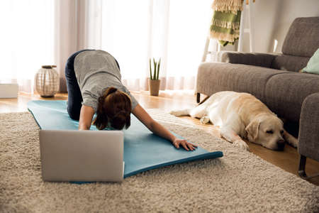 Shot of a woman doing exercise at home with her dog Stockfoto