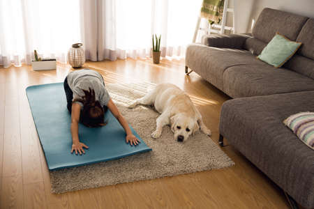 Shot of a woman doing exercise at home with her dog Archivio Fotografico