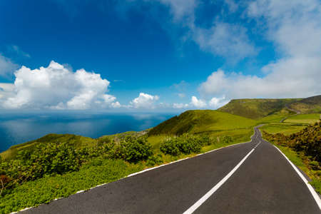 Beautiful road on Flores Island, Azores, Portugal 写真素材