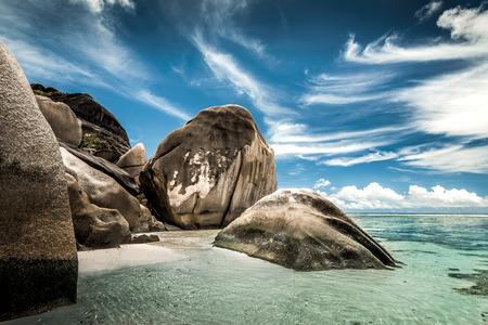Beautiful beach Anse Source Dargent in Praslin, Seychelles Stock Photo