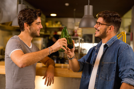 Two friends having a drink at the pub and making a toast Archivio Fotografico