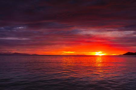 Beautiful sunset colors of Seychelles