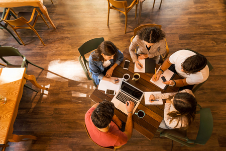 Group of friends studying together for finals Imagens - 130027596