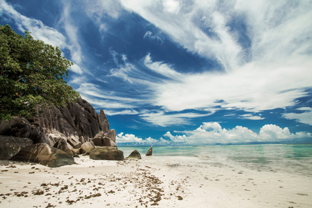 Beautiful beach Anse Source D'argent in Praslin, Seychelles Stock Photo
