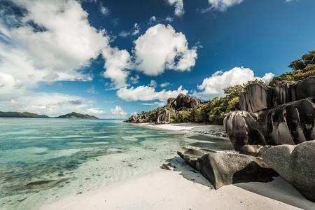 Beautiful beach Anse Source Dargent in Praslin, Seychelles Imagens