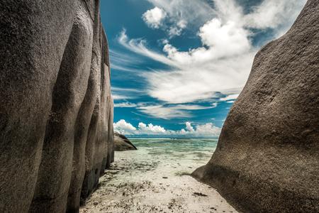 Beautiful beach Anse Source D'argent in Praslin, Seychelles Imagens - 130544447