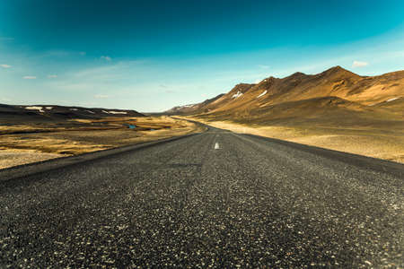 Beautiful road in the incredible landscapes of Iceland