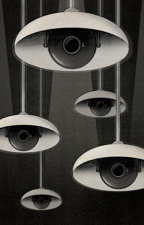 lamp shade: CCTV eyes under lampshades peeking LANG_EVOIMAGES
