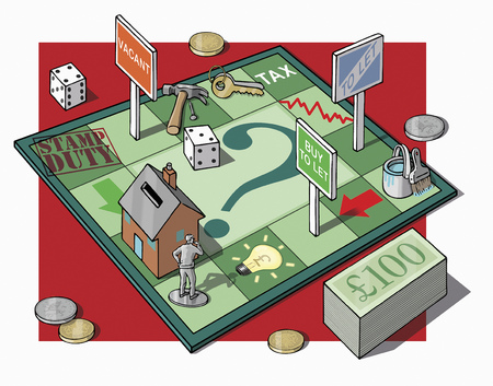 light duty: Man on money and real estate game board