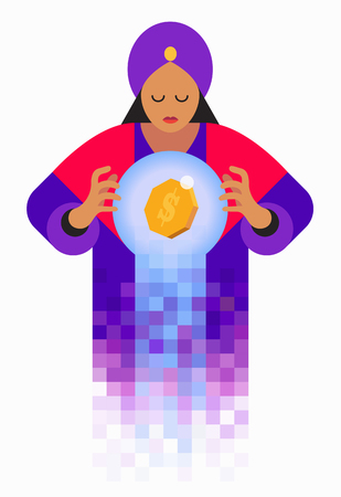 dissolve: Fortune teller looking in crystal ball with dollar sign