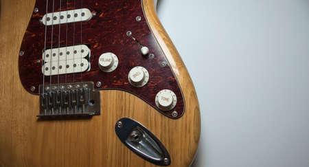 Electric guitar wooden body close-up 免版税图像