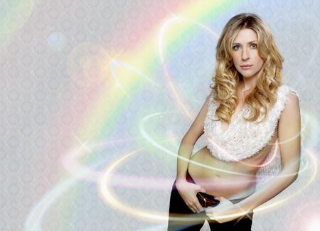 Blonde woman with rainbow lights photo