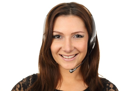 callcenter: Friendly callcenter agent smiling