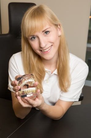 onlays: Female dental technician presenting model of human denture in the office Stock Photo