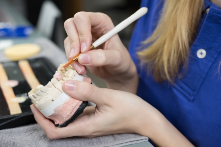 prosthetics: Closeup of a dental technician applying porcelain to a dentition mold in a lab