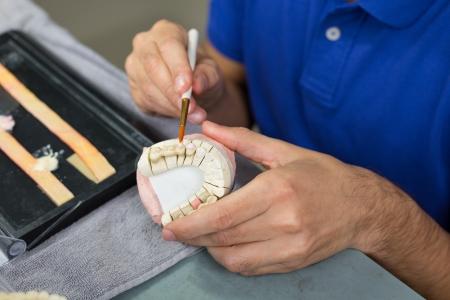 zatkanie: Zbliżenie technika dentystycznego stosujÄ…c porcelanÄ™ do formy uzÄ™bienia z pÄ™dzlem w laboratorium Zdjęcie Seryjne