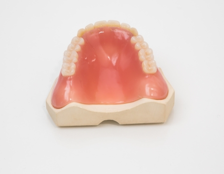 amalgam: Artificial denture manufactured in a dental lab Stock Photo