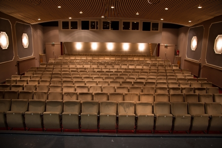 Seat rows in an theatre without audience photo