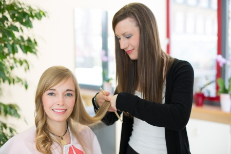 beauty saloon: Happy customer getting her hair cut by hairdresser or stylist in salon