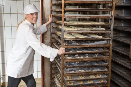 Baker moving rack full of dough for bread, buns and pretzel into the oven in a bakery photo