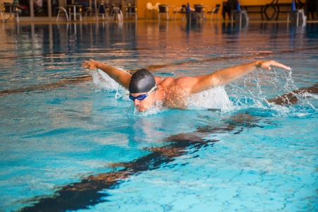 Man swims butterfly style in indoor public swimming pool Stock Photo
