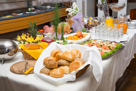 Breakfast buffet at restaurant or hotel Stock Photo