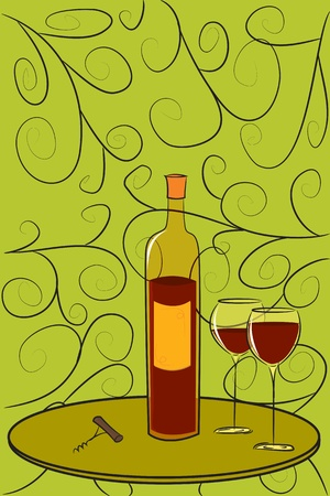 Stylish postcard with bottle of wine on it. Vector