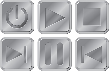Metal buttons for media player Vector