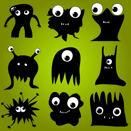 Set of Funny Black Monsters with Green Background Illustration