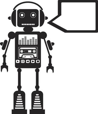 bionico: Robot musicale con pulsanti multimediali su di esso e Callout Vettoriali