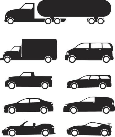 prototipo: Aislados iconos de Vehículos negro situado en el fondo blanco