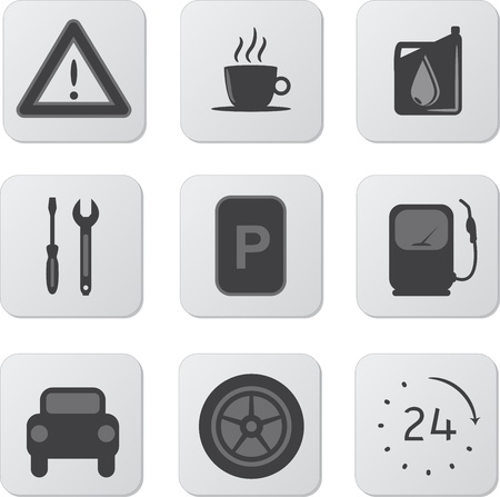 9 Style Gray Automobile Icons with Signs