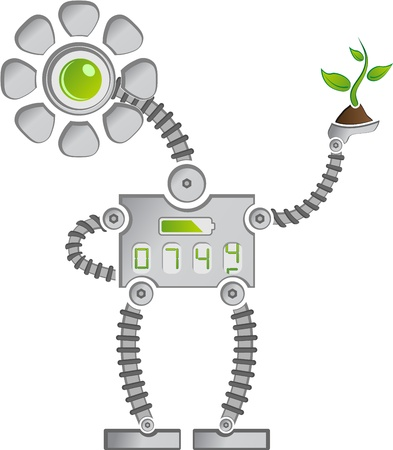 Eco Mettal Sunflower Robot with Digits saving Plants Stock Vector - 14975123