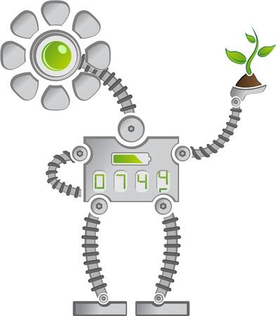 funny robot: Eco Robot Tournesol mettal avec des chiffres Plantes d'�pargne Illustration