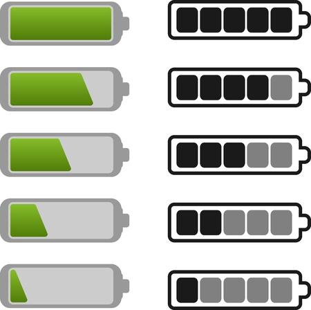 Battery Icon Set include Green and Gray Option Stock Vector - 15111525