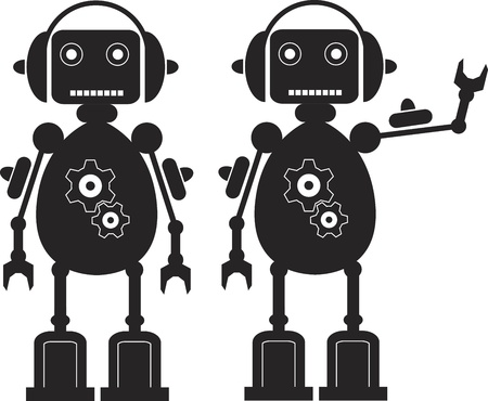 artificial intelligence: Two Black Friendly Robots with Gears, Headphones.