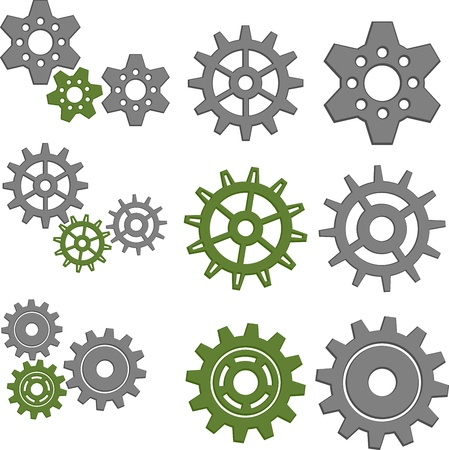 Set of Gears with Six Different Gears Vettoriali