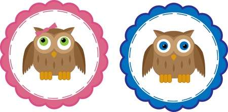 Two Owl Babies Postcards for Boy and Girl Vector