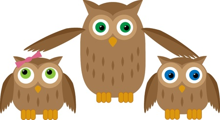 Mom owl protects their two owl babies Illustration