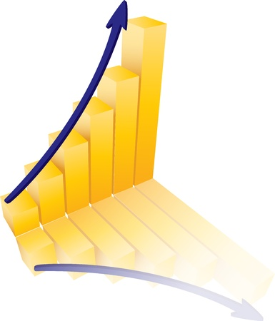 Success Graph Illustration With Gold and Blue Colors Illustration