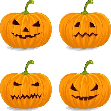 calabaza caricatura: Cuatro Estilo Decorativo Pumpkins Amarillo para Halloween.