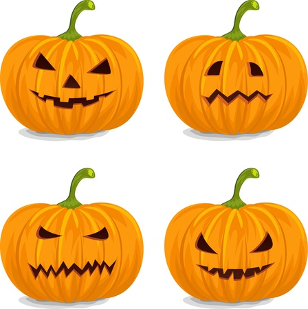 halloween cartoon: Four Style  Decorative Yellow Pumpkins for Halloween.