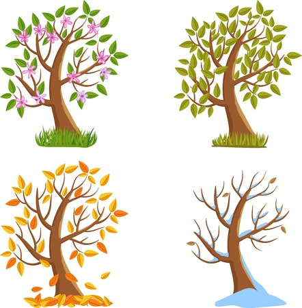 snow fall: Spring, Summer, Autumn and Winter Tree Illustration.