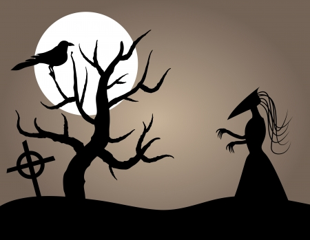 Evil Halloween Creature near Dead Tree and Crow Vector
