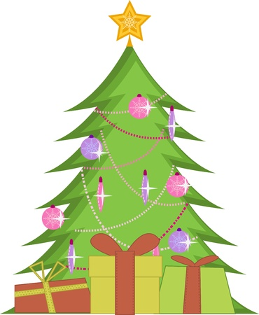 Christmas tree with presents and big star on the top Stock Vector - 16220880