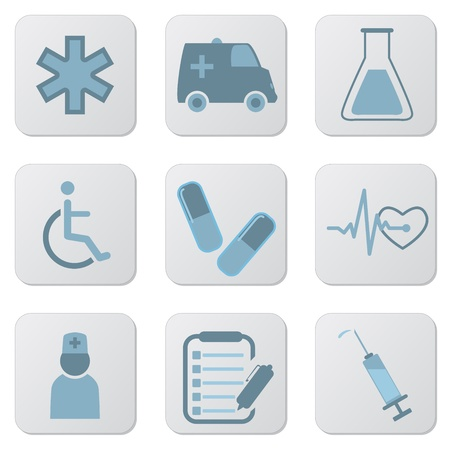 Set of blue medical icons for hospitals and websites. Illustration